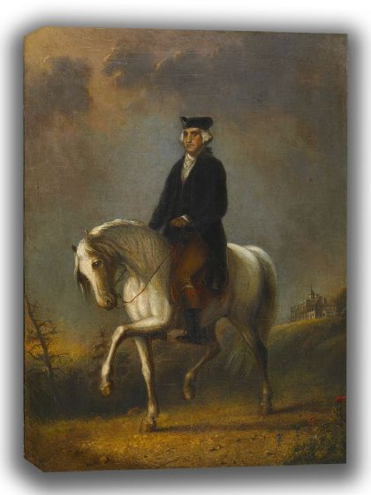 Miller, Alfred Jacob: George Washington at Mount Vernon. Fine Art Canvas. Sizes: A4/A3/A2/A1 (003851)